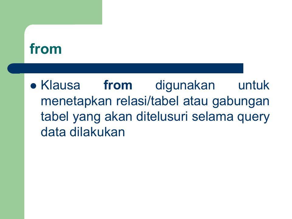 from Klausa from digunakan untuk menetapkan relasi/tabel atau gabungan tabel yang akan ditelusuri selama query data dilakukan.