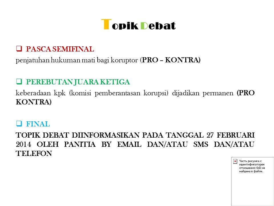 Topik Debat PASCA SEMIFINAL