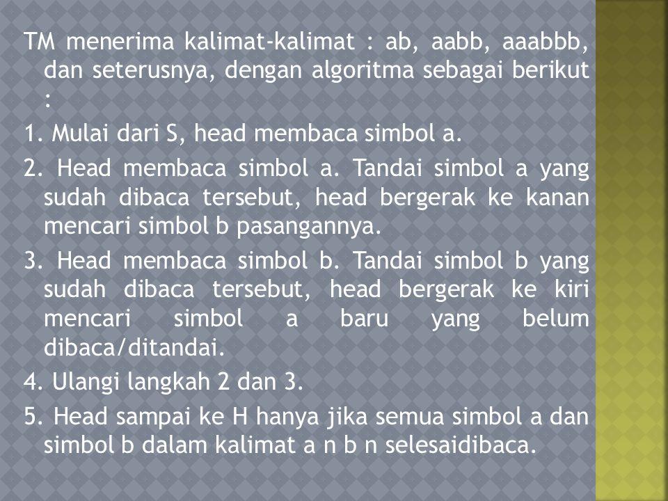 TM menerima kalimat-kalimat : ab, aabb, aaabbb, dan seterusnya, dengan algoritma sebagai berikut : 1.
