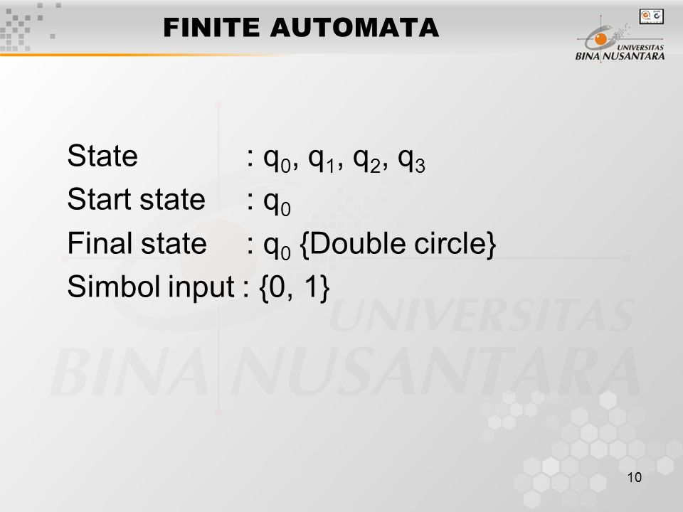 Final state : q0 {Double circle} Simbol input : {0, 1}