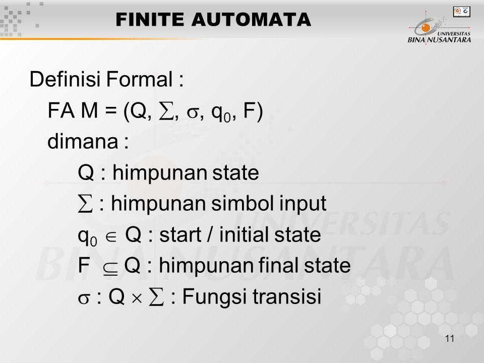  : himpunan simbol input q0  Q : start / initial state