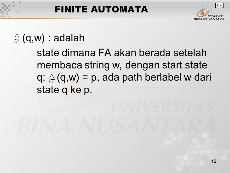 FINITE AUTOMATA (q,w) : adalah.