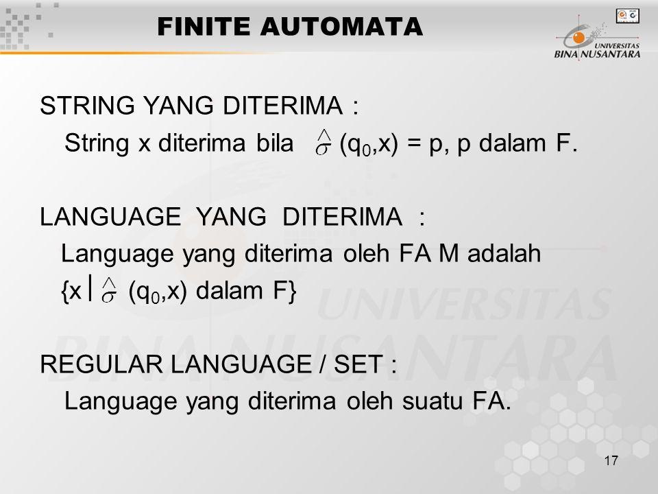 FINITE AUTOMATA STRING YANG DITERIMA : String x diterima bila (q0,x) = p, p dalam F. LANGUAGE YANG DITERIMA :