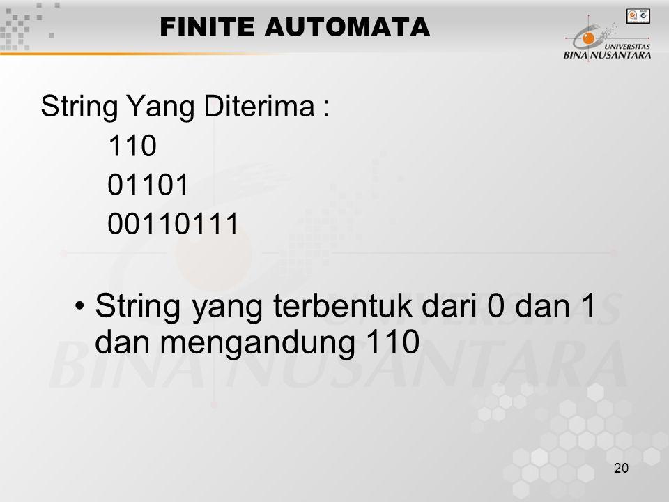 String yang terbentuk dari 0 dan 1 dan mengandung 110