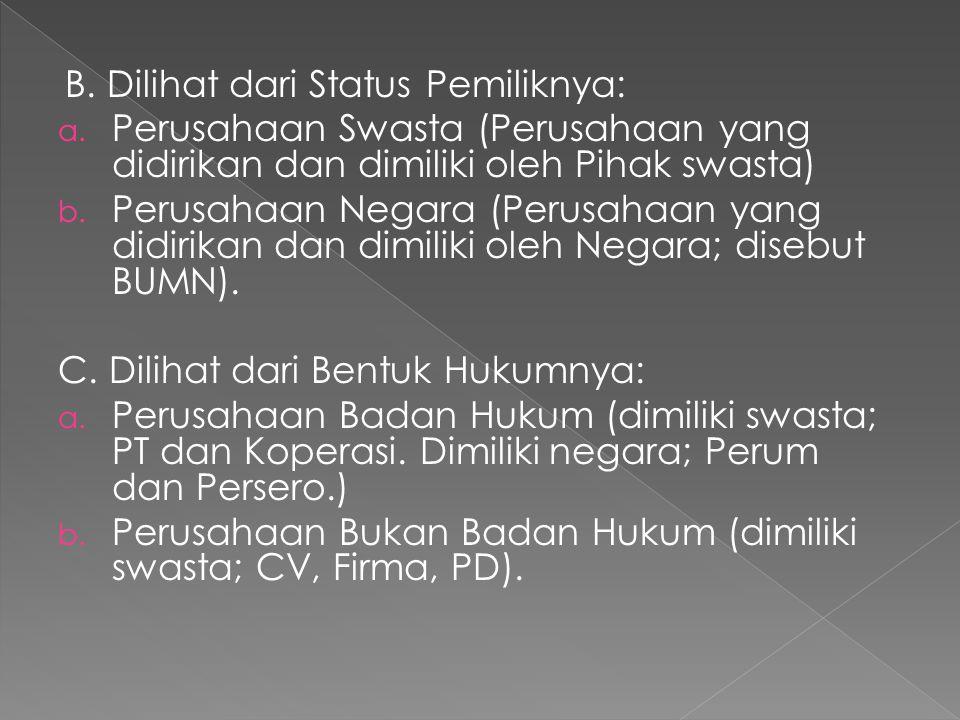 B. Dilihat dari Status Pemiliknya: