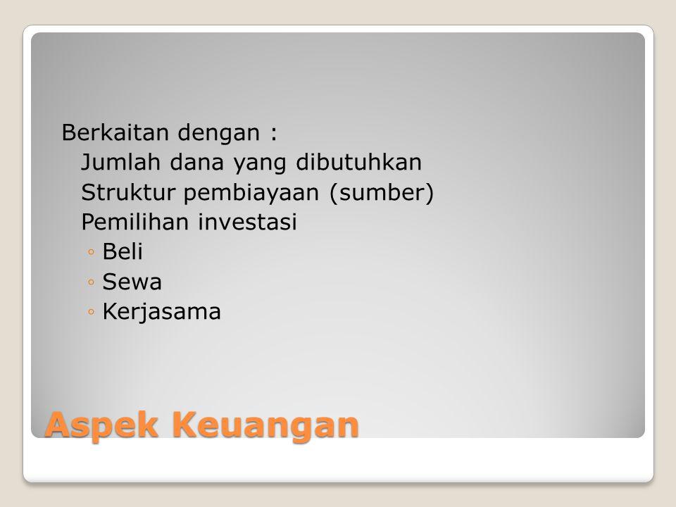 Aspek Keuangan Berkaitan dengan : Jumlah dana yang dibutuhkan