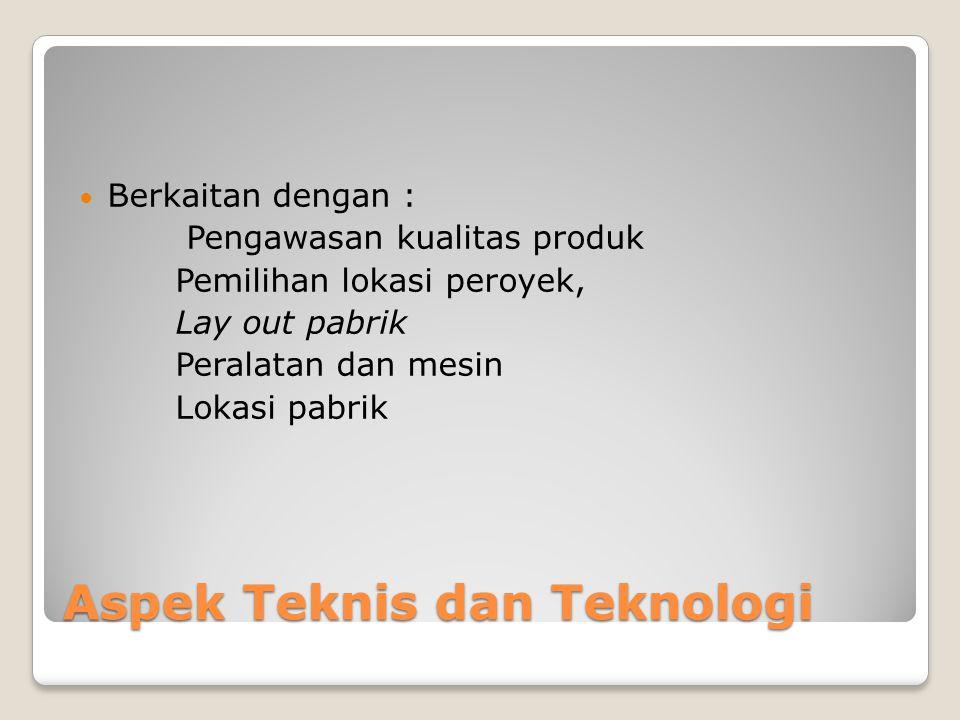Aspek Teknis dan Teknologi