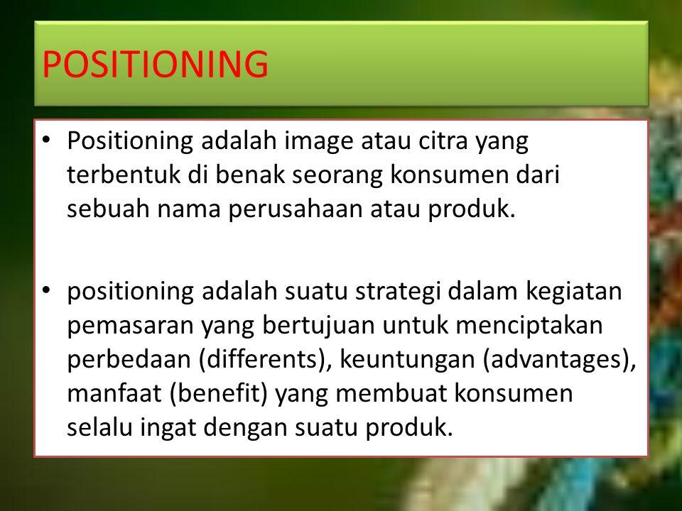 POSITIONING Positioning adalah image atau citra yang terbentuk di benak seorang konsumen dari sebuah nama perusahaan atau produk.