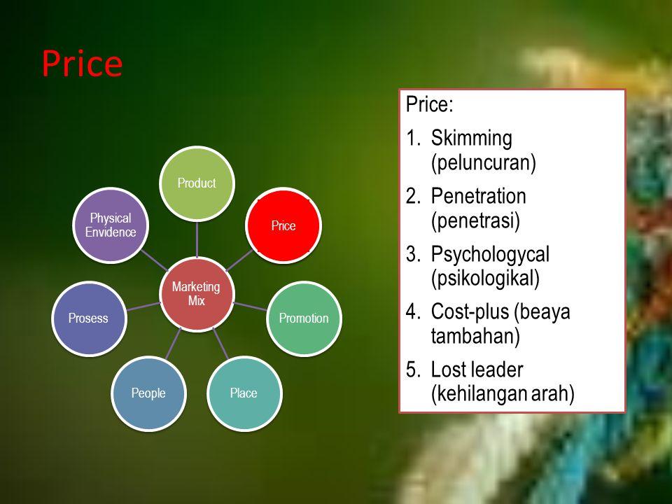 Price Price: Skimming (peluncuran) Penetration (penetrasi)