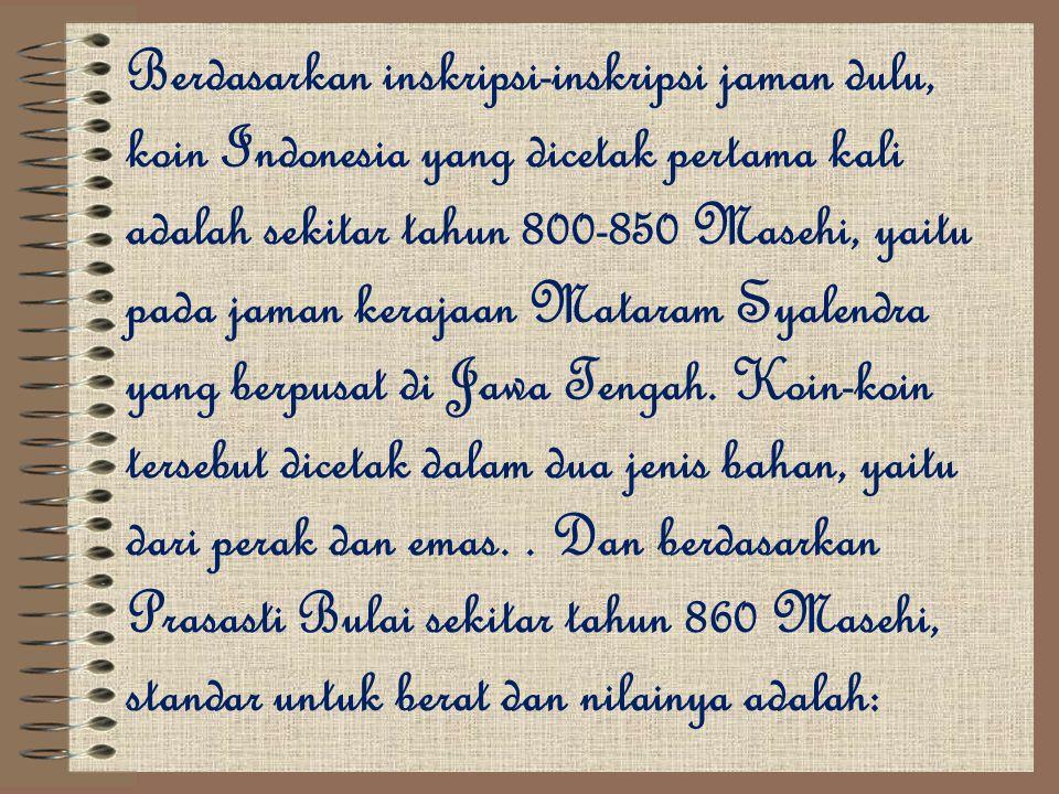 Berdasarkan inskripsi-inskripsi jaman dulu, koin Indonesia yang dicetak pertama kali adalah sekitar tahun 800-850 Masehi, yaitu pada jaman kerajaan Mataram Syalendra yang berpusat di Jawa Tengah.