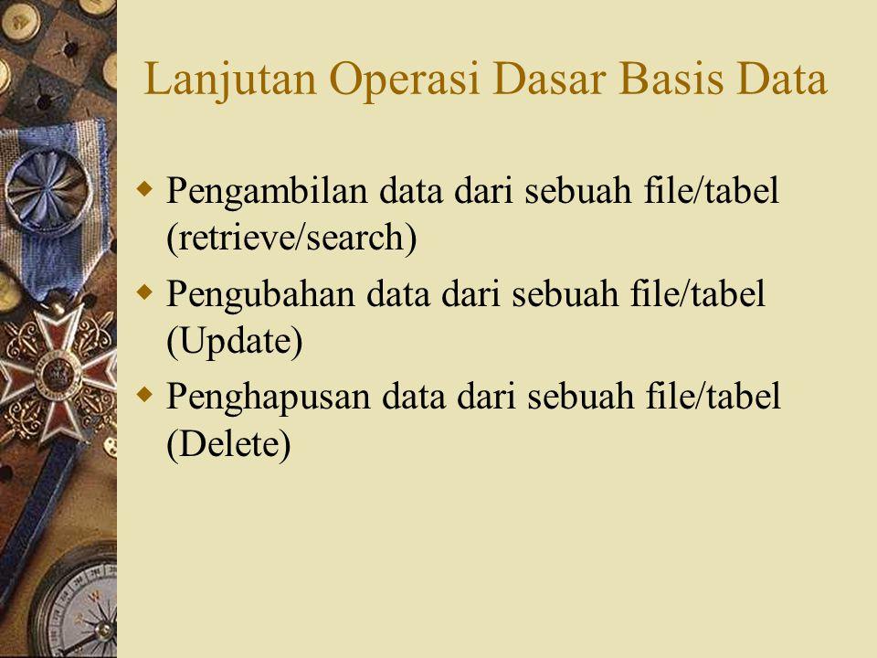 Lanjutan Operasi Dasar Basis Data