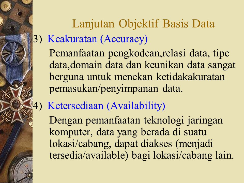 Lanjutan Objektif Basis Data