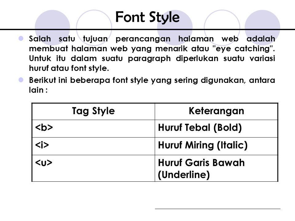Font Style Tag Style Keterangan <b> Huruf Tebal (Bold) <i>