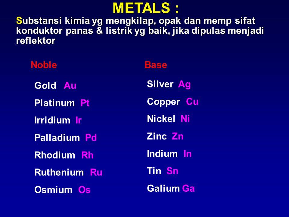 METALS : Substansi kimia yg mengkilap, opak dan memp sifat konduktor panas & listrik yg baik, jika dipulas menjadi reflektor.