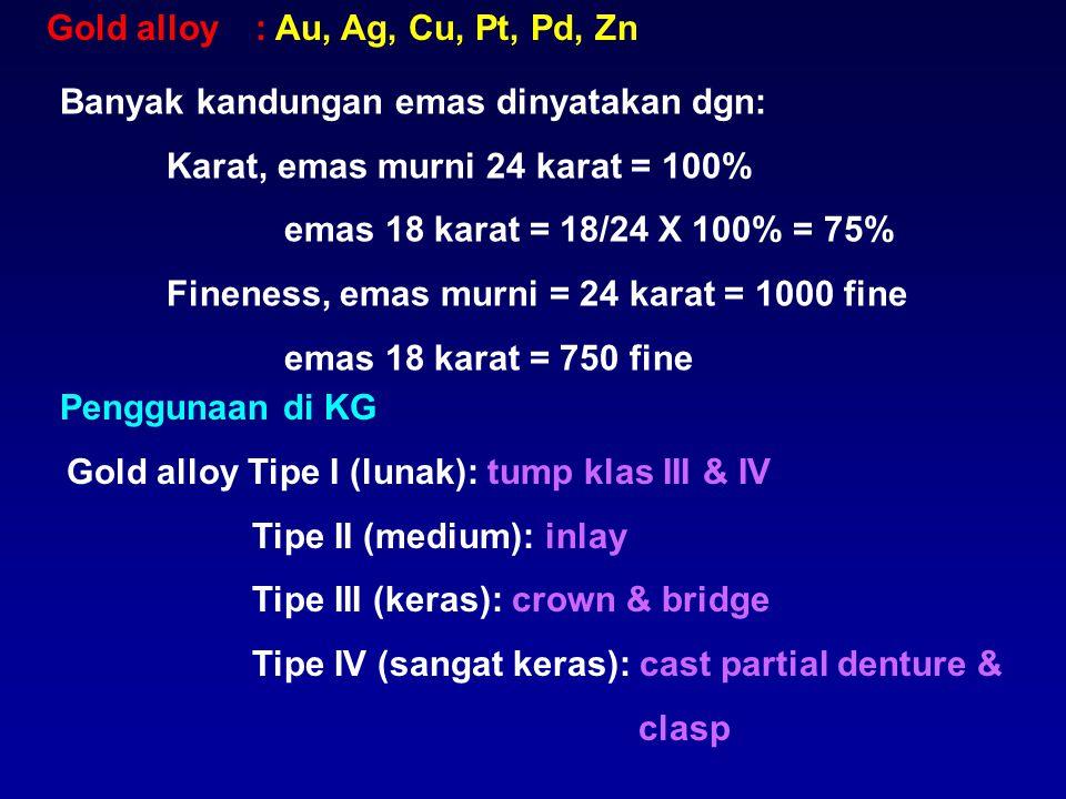 Gold alloy : Au, Ag, Cu, Pt, Pd, Zn. Banyak kandungan emas dinyatakan dgn: Karat, emas murni 24 karat = 100%