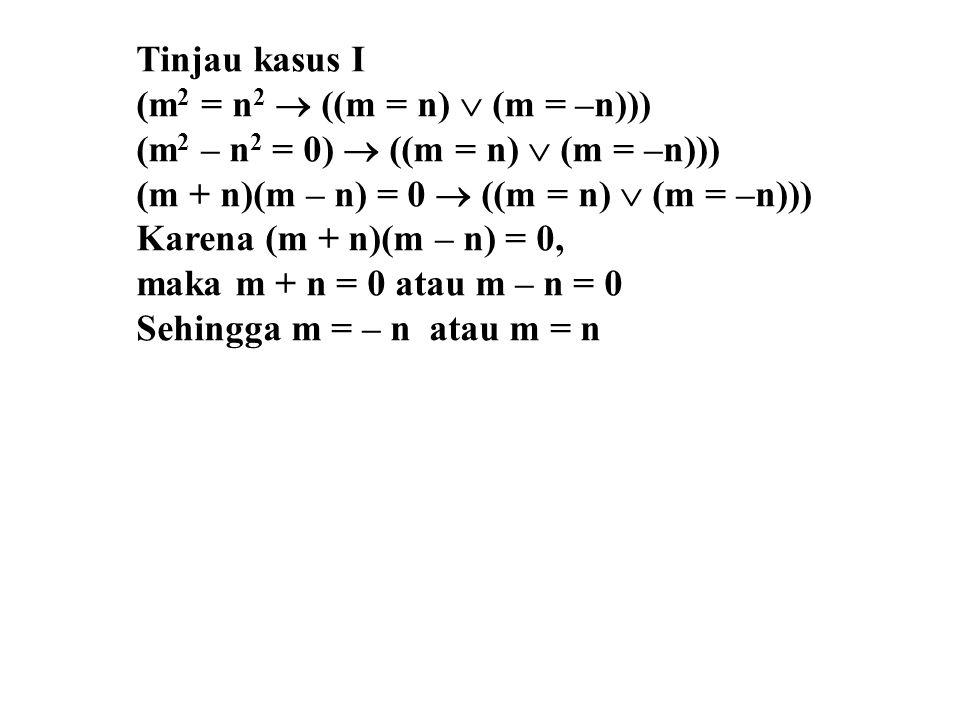 Tinjau kasus I (m2 = n2  ((m = n)  (m = –n))) (m2 – n2 = 0)  ((m = n)  (m = –n))) (m + n)(m – n) = 0  ((m = n)  (m = –n)))