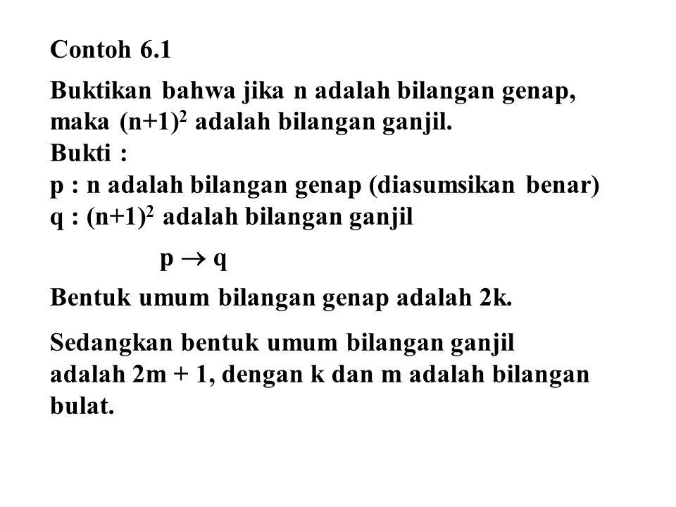 Contoh 6.1 Buktikan bahwa jika n adalah bilangan genap, maka (n+1)2 adalah bilangan ganjil. Bukti :