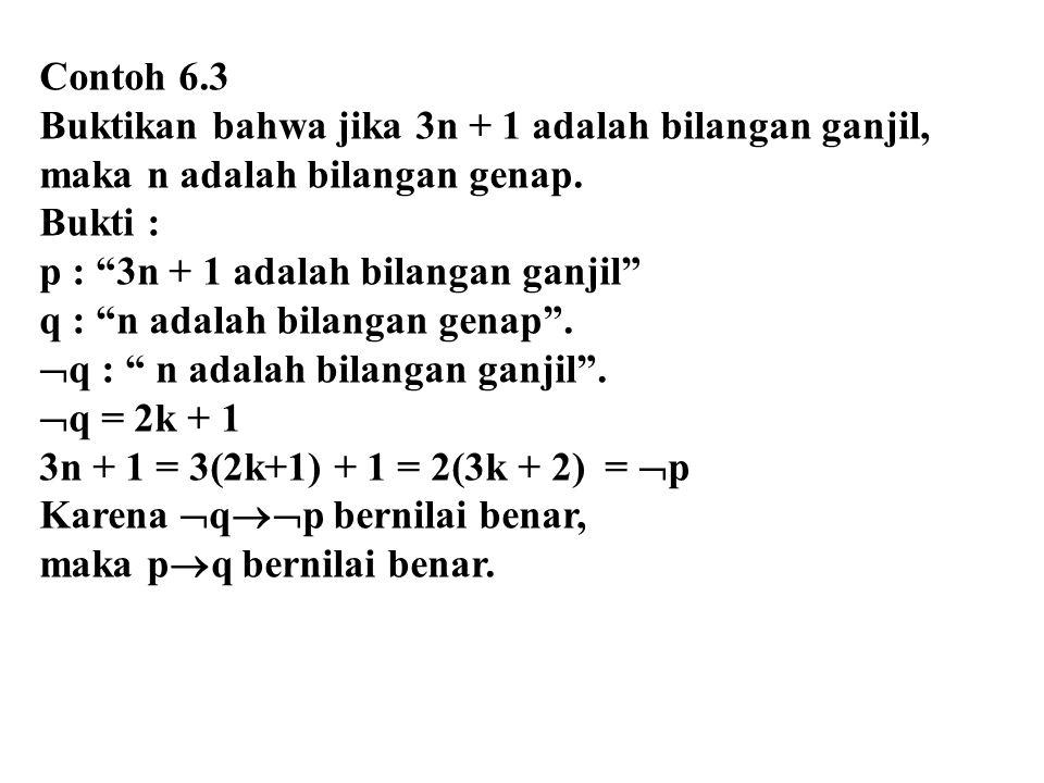 Contoh 6.3 Buktikan bahwa jika 3n + 1 adalah bilangan ganjil, maka n adalah bilangan genap. Bukti :