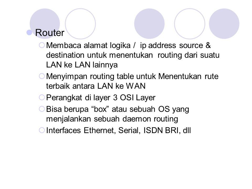Router Membaca alamat logika / ip address source & destination untuk menentukan routing dari suatu LAN ke LAN lainnya.