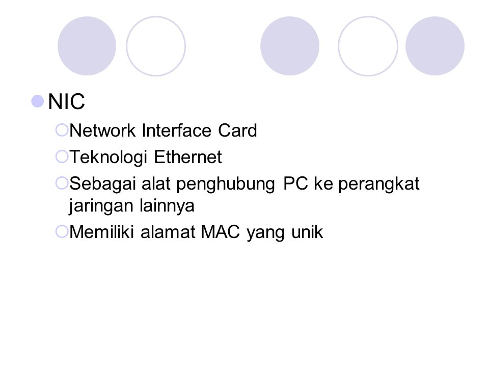NIC Network Interface Card Teknologi Ethernet