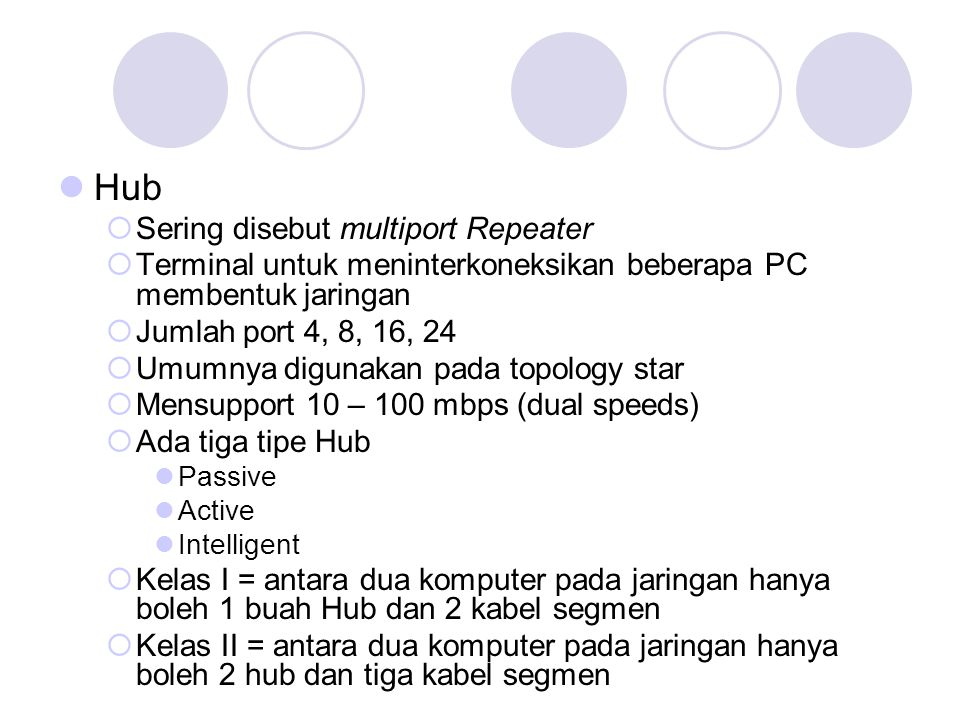 Hub Sering disebut multiport Repeater