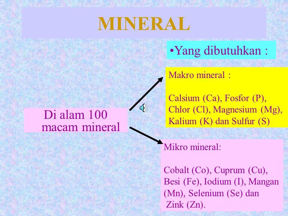 MINERAL Yang dibutuhkan : Di alam 100 macam mineral Makro mineral :