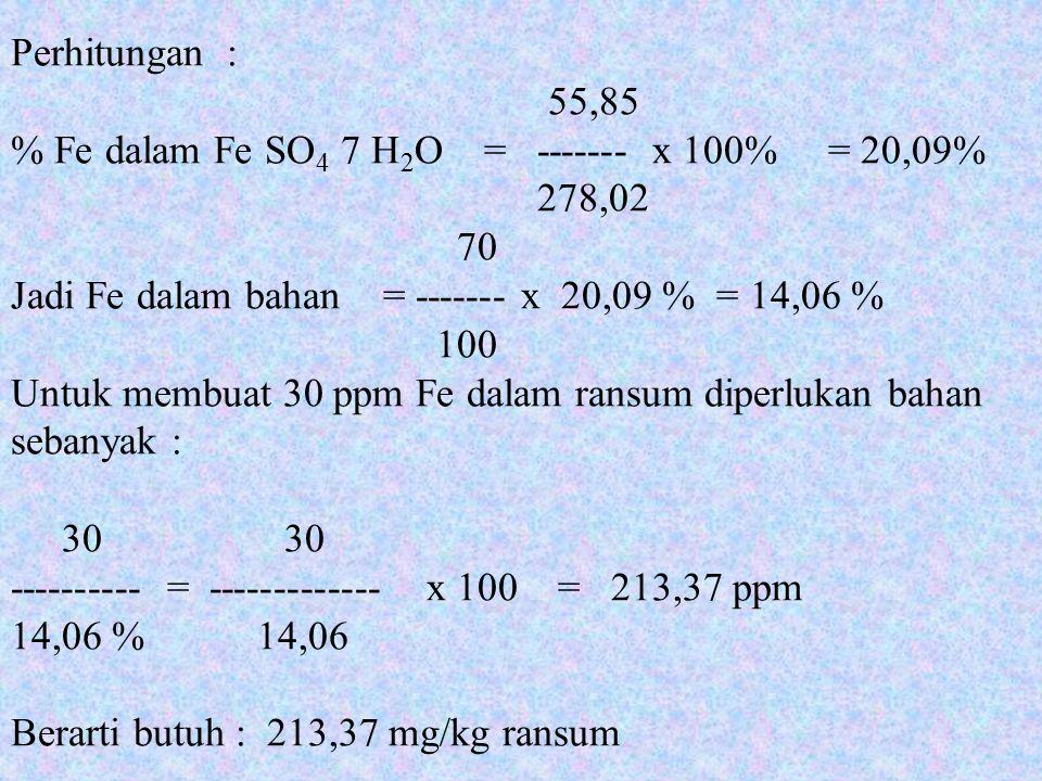 Perhitungan : 55,85. % Fe dalam Fe SO4 7 H2O = ------- x 100% = 20,09% 278,02. 70.