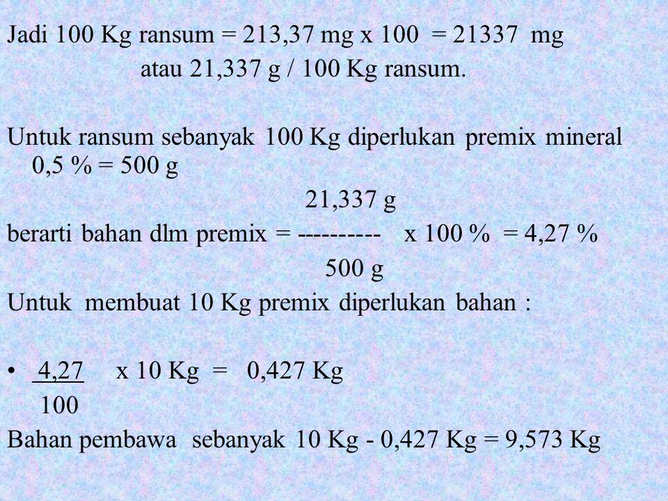 Jadi 100 Kg ransum = 213,37 mg x 100 = 21337 mg atau 21,337 g / 100 Kg ransum.