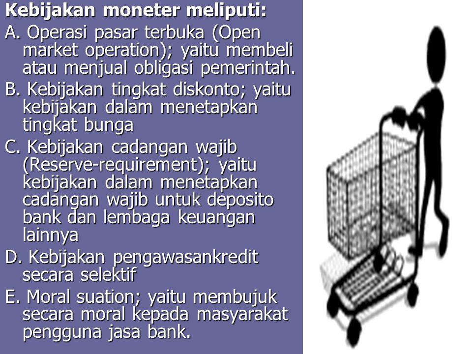 Kebijakan moneter meliputi:
