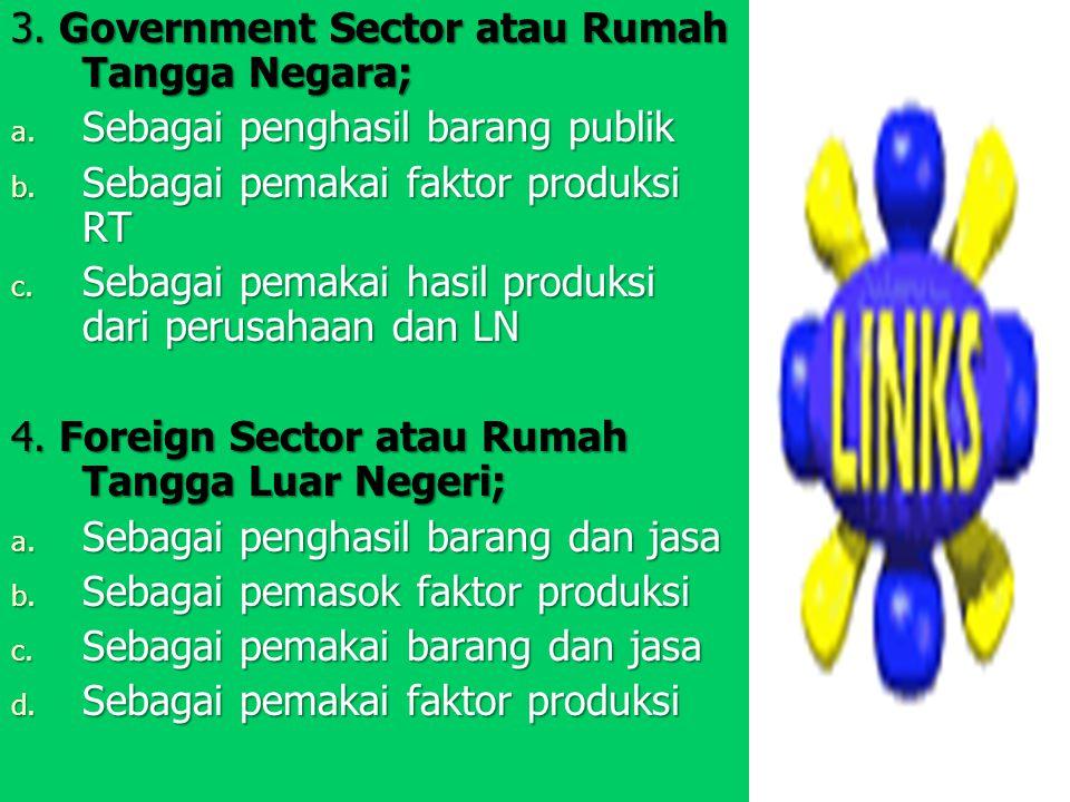 3. Government Sector atau Rumah Tangga Negara;