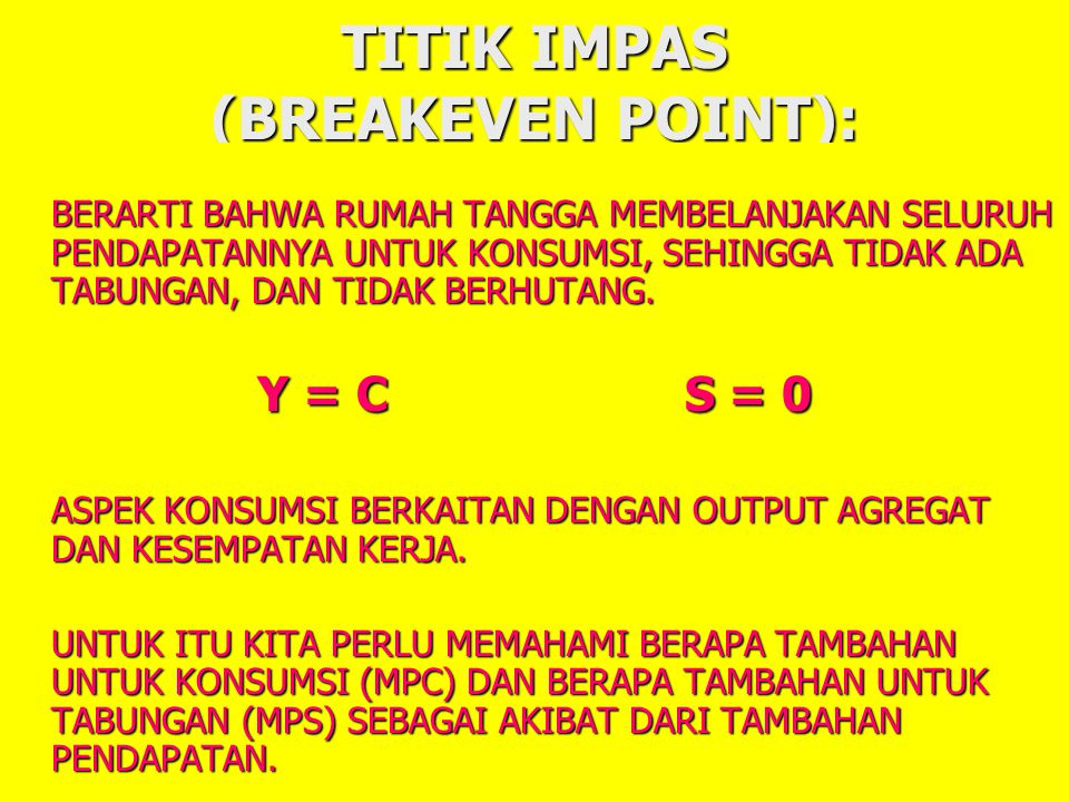 TITIK IMPAS (BREAKEVEN POINT):