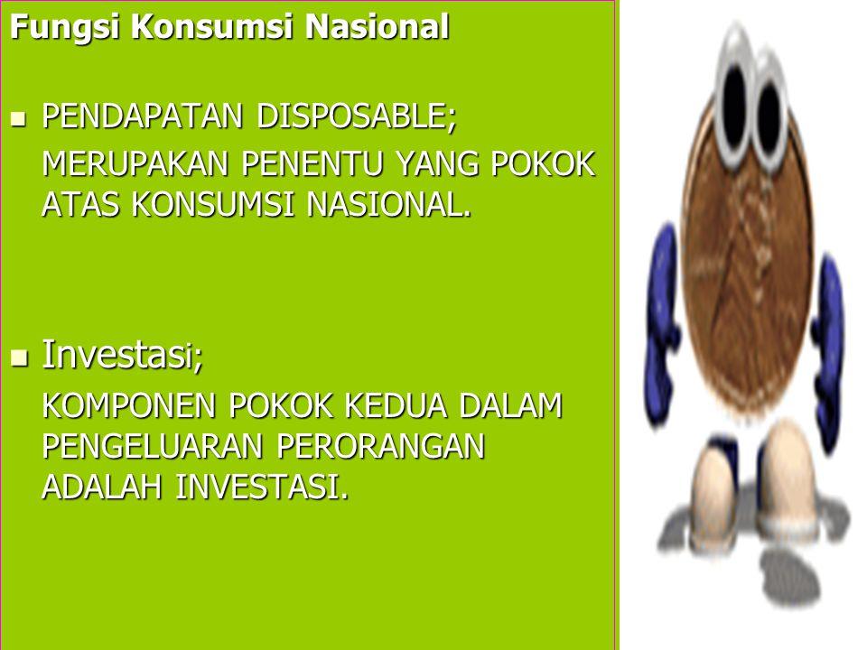 Investasi; Fungsi Konsumsi Nasional PENDAPATAN DISPOSABLE;