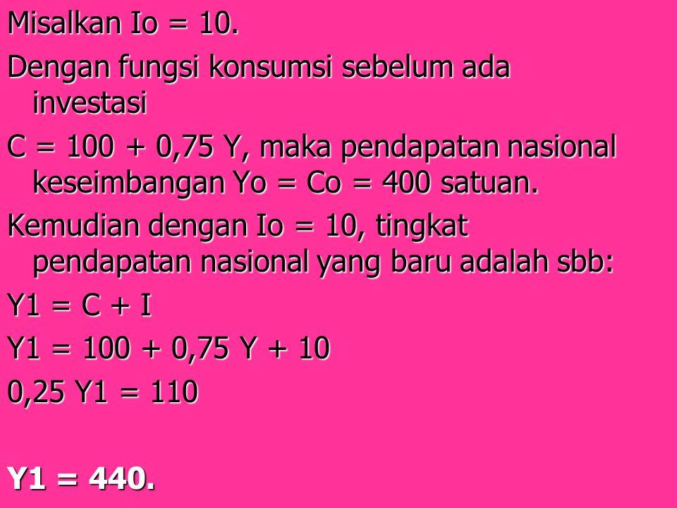 Misalkan Io = 10. Dengan fungsi konsumsi sebelum ada investasi. C = 100 + 0,75 Y, maka pendapatan nasional keseimbangan Yo = Co = 400 satuan.