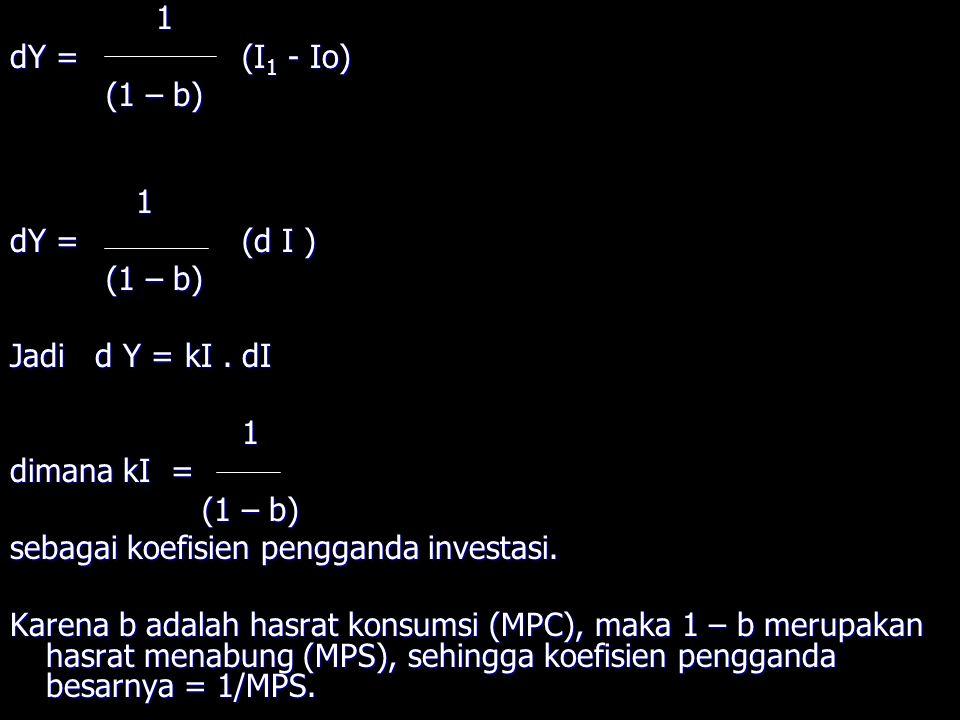 1 dY = (I1 - Io) (1 – b) dY = (d I ) Jadi d Y = kI . dI. dimana kI = sebagai koefisien pengganda investasi.