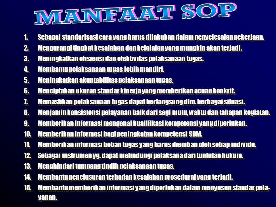 MANFAAT SOP Sebagai standarisasi cara yang harus dilakukan dalam penyelesaian pekerjaan.