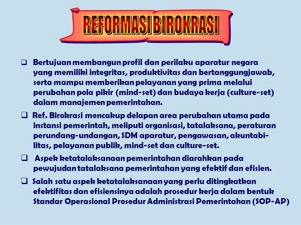 REFORMASI BIROKRASI Bertujuan membangun profil dan perilaku aparatur negara. yang memiliki integritas, produktivitas dan bertanggungjawab,