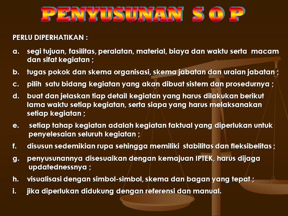 PENYUSUNAN S O P PERLU DIPERHATIKAN :
