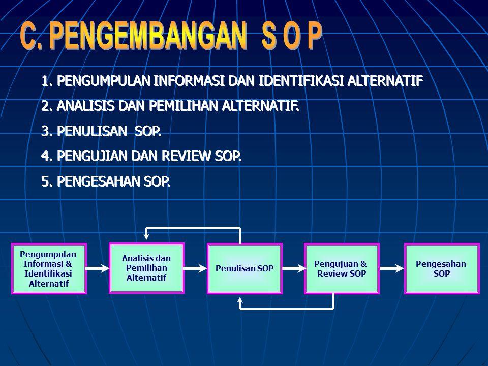C. PENGEMBANGAN S O P 1. PENGUMPULAN INFORMASI DAN IDENTIFIKASI ALTERNATIF. 2. ANALISIS DAN PEMILIHAN ALTERNATIF.