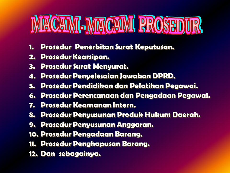 MACAM - MACAM PROSEDUR Prosedur Penerbitan Surat Keputusan.