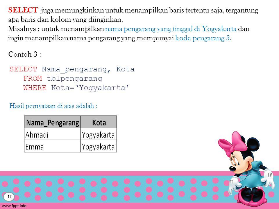 SELECT Nama_pengarang, Kota FROM tblpengarang WHERE Kota='Yogyakarta'