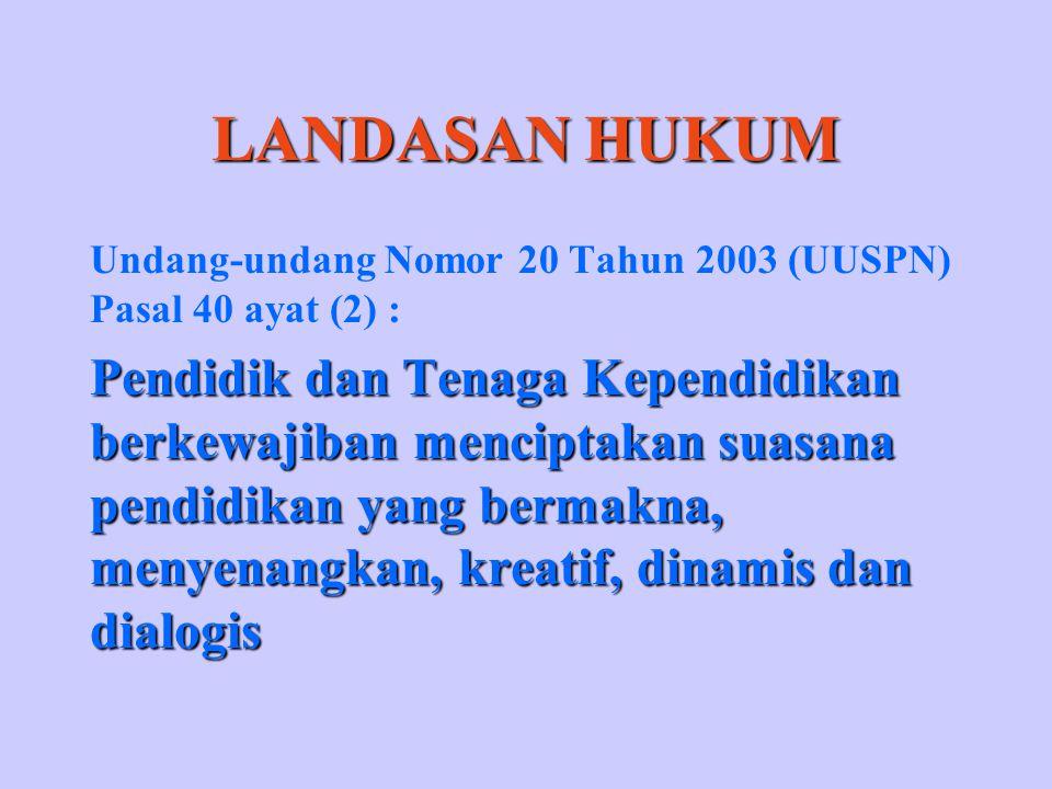 LANDASAN HUKUM Undang-undang Nomor 20 Tahun 2003 (UUSPN) Pasal 40 ayat (2) :