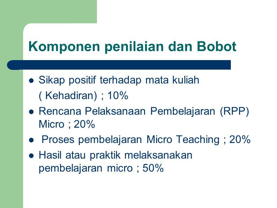 Komponen penilaian dan Bobot