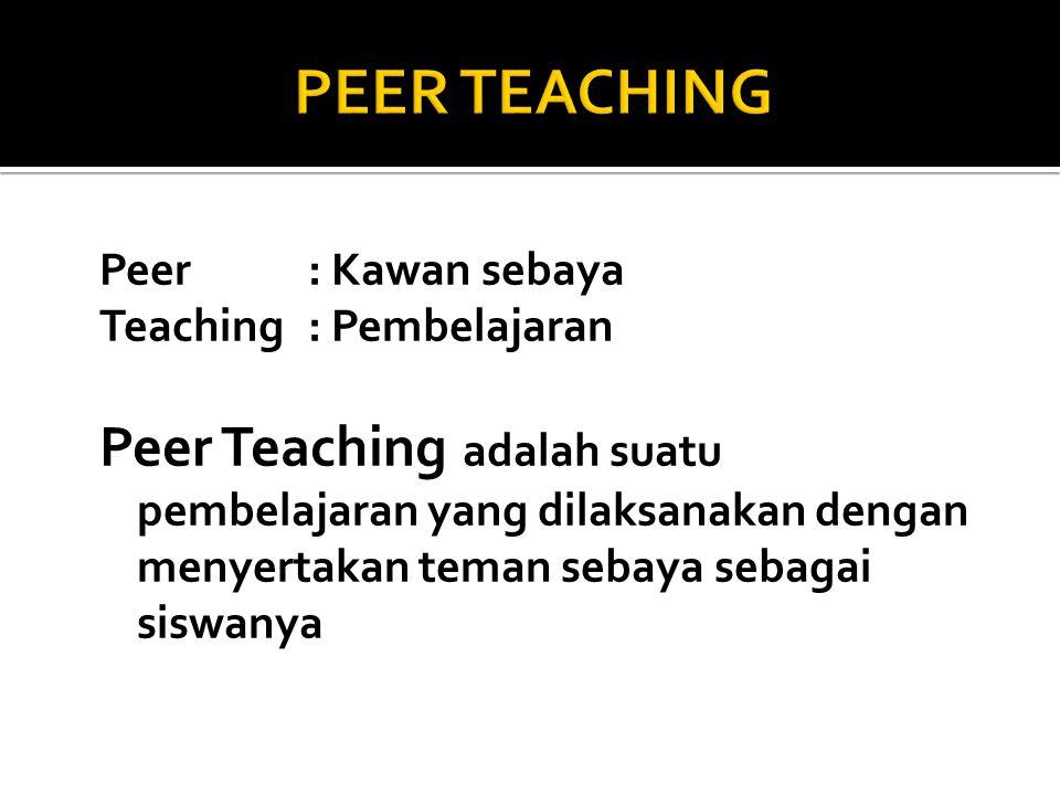 PEER TEACHING Peer : Kawan sebaya. Teaching : Pembelajaran.