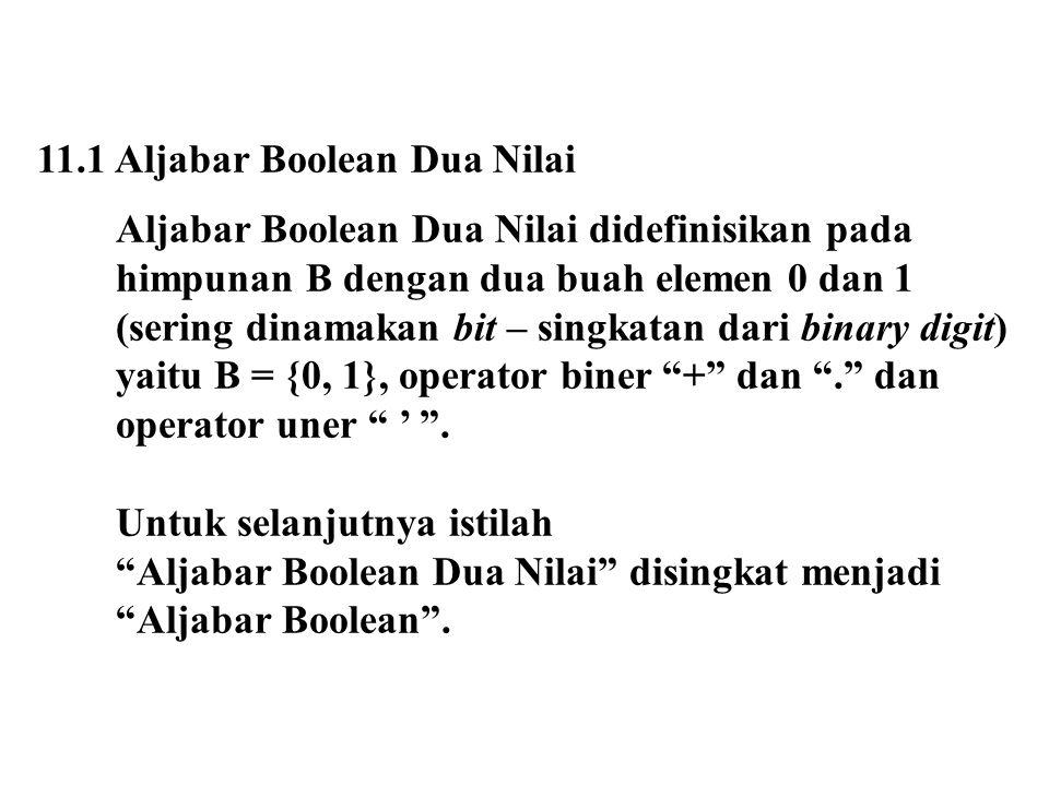 11.1 Aljabar Boolean Dua Nilai