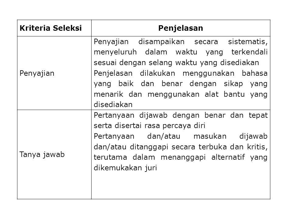 Kriteria Seleksi Penjelasan. Penyajian.