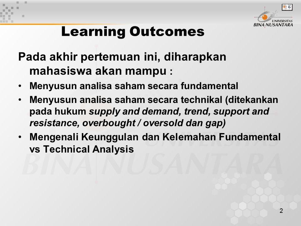 Learning Outcomes Pada akhir pertemuan ini, diharapkan mahasiswa akan mampu : Menyusun analisa saham secara fundamental.