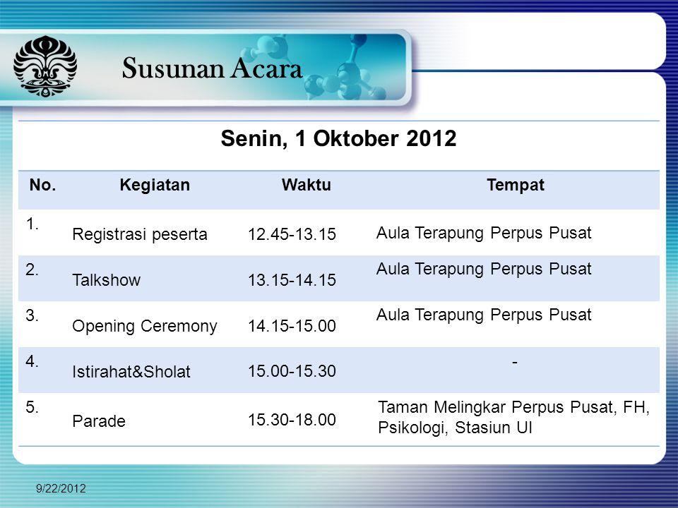 Susunan Acara Senin, 1 Oktober 2012 No. Kegiatan Waktu Tempat 1.