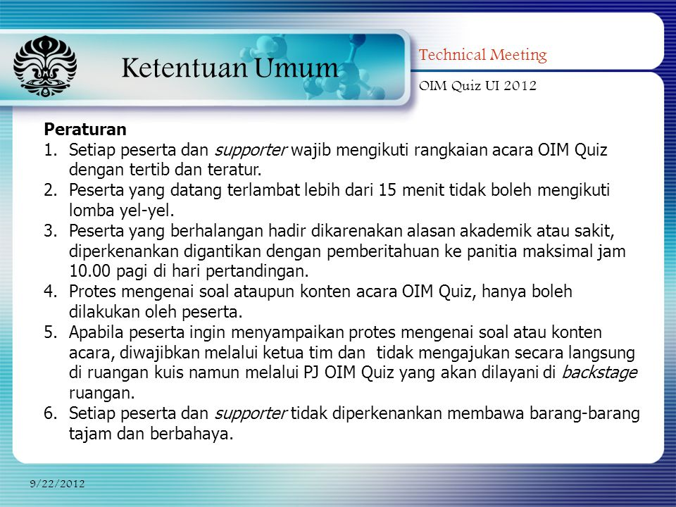 Ketentuan Umum Technical Meeting Peraturan