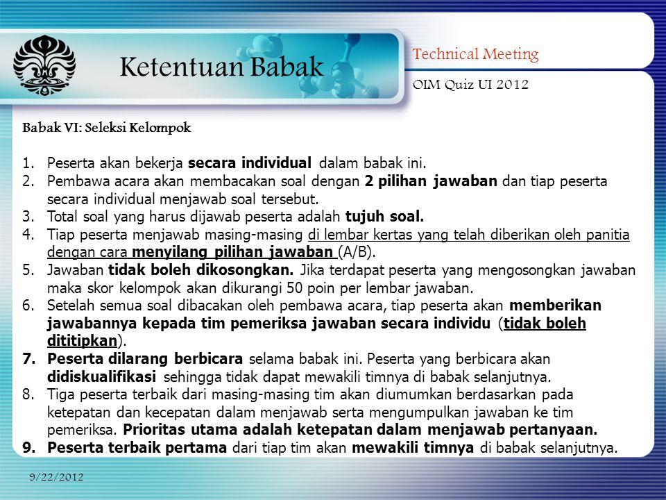 Ketentuan Babak Technical Meeting OIM Quiz UI 2012