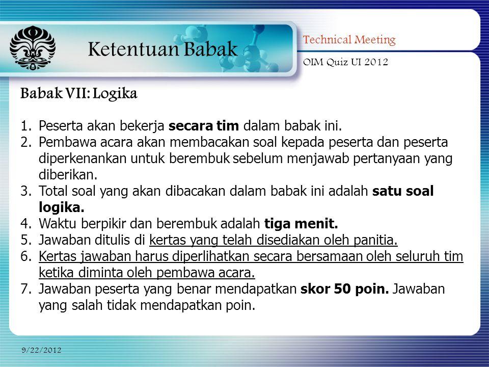 Ketentuan Babak Babak VII: Logika